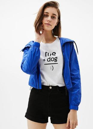 Ветровка легкая летняя куртка от bershka олимпийка синяя короткая