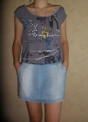 Итальянское летнее комбинированное джинс трикотаж платье с напуском без рукавов
