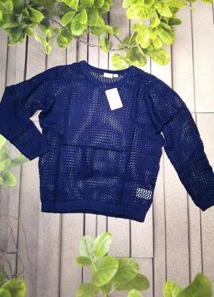 Легкий женский пуловер ажурная сеточка синий