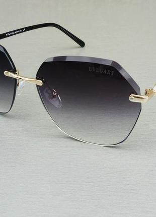 Bvlgari очки женские солнцезащитные черные с градиентом безоправные