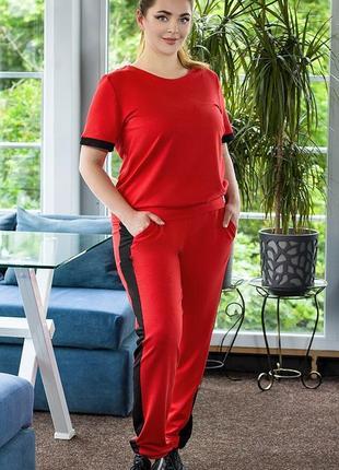 Красный летний спортивный костюм, размер 44-54