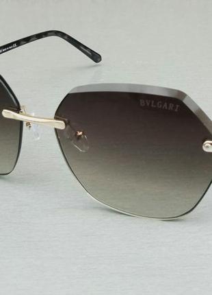 Bvlgari очки женские солнцезащитные коричневые с градиентом безоправные