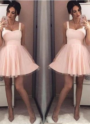 Мини платье пышная юбка фатин в расцветках черный, голубой