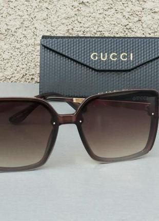 Gucci очки женские солнцезащитные большие коричневые с градиентом