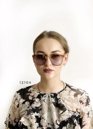 Модные солнцезащитные очки с коричнево-голубыми линзами к.12104