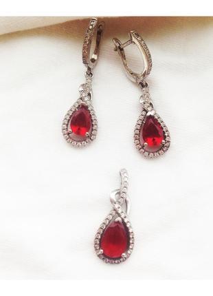 Cерги кулон красный камень серебро 925