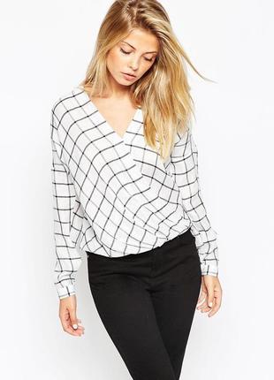 Блуза на запа́хе барбери рубашка женская с запа́хом клетка принт рукав длинный
