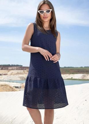 Натуральное летнее прямое свободное синее платье из батиста (1383 svtt)