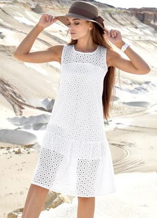 Натуральное летнее прямое свободное белое платье из батиста (1383 svtt)