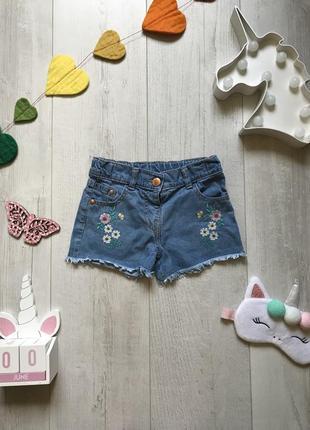 Джинсовые шорты с вышивкой 2-3 года