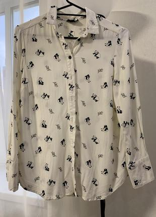 Рубашка блуза молочного оттенка в пандочки