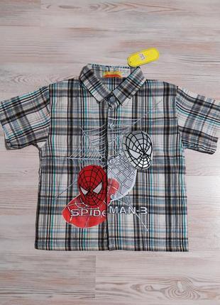 Новая детская тенниска рубашка в клетку spider man