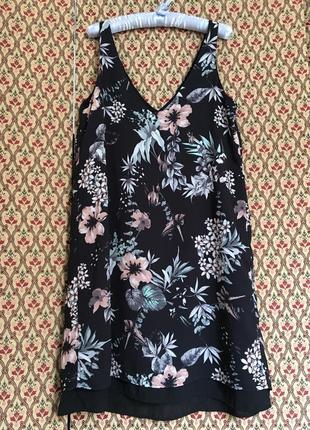 Платье шифоновое цветочный принт цветастое летнее сарафан батал