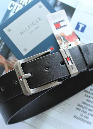 Топовый мужской кожаный ремень tommy hilfiger + подарочная коробка