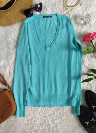Базовый легкий джемпер бирюзового цвета