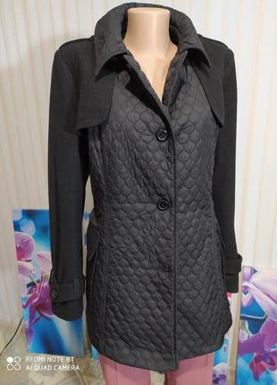 Красивенное комбинированное стеганое пальто куртка