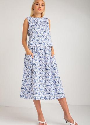 Летний хлопковый костюм  из топа и юбки в синий цветочек (в 2-х принтах)