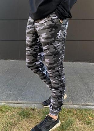 Штаны трикотаж камуфляж серый