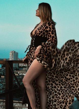 Леопардовое платье, шифоновый летний сарафан
