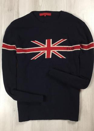 F7 шерстяной свитер fcuk jeans кофта с английским британским флагом британия англия