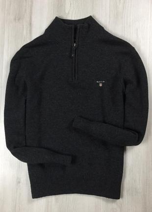 F7 шерстяной свитер gant гант серый кофта