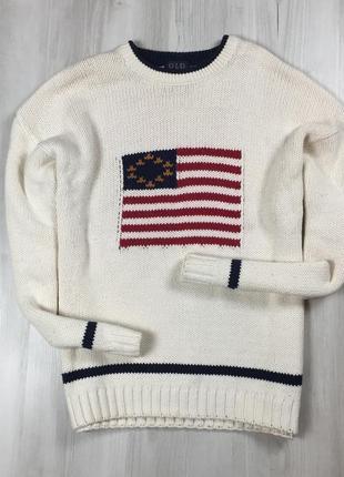 F7 белый свитер old grory с американским флагом сша