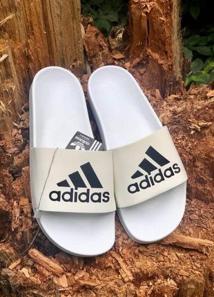 Новинка топовые женские тапочки белые сланцы adidas