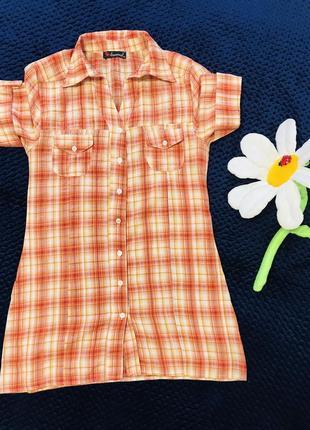 Рубашка с/м в отличном состоянии!!! оранжевая в клетку