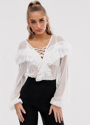 Кружевной белый комбидрес боди с рюшами летняя блуза
