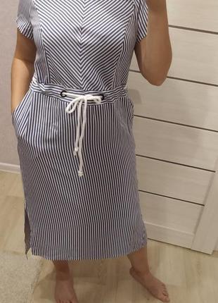 Платье в полоску,лен,комфортное, размер 52