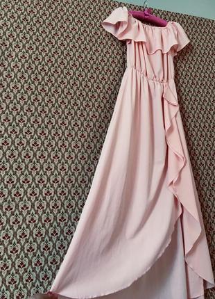 Платье летнее с воланом рюшей на запах длинное миди макси сарафан