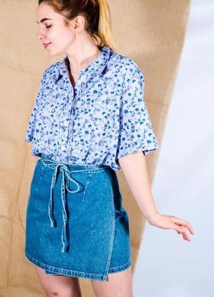 Женская сиреневая рубашка, летняя рубашка с коротким рукавом