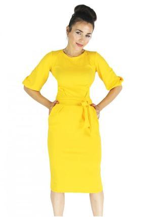 Платье с рукавами фонариком и поясом платьице жолтое летнее миди женское. пт3