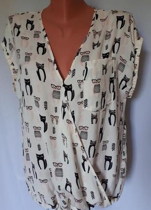 Блуза-футболка с  котами в очках next(размер 10-12)