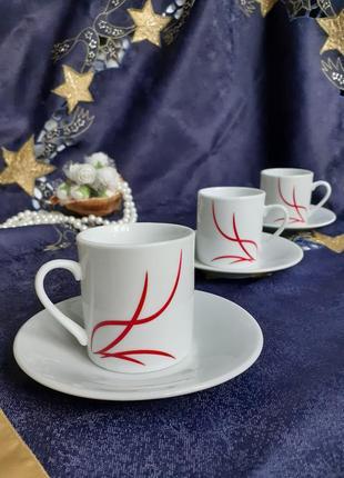"""Набор кофейных чашек с блюдцами миниатюры фарфор """"а"""""""