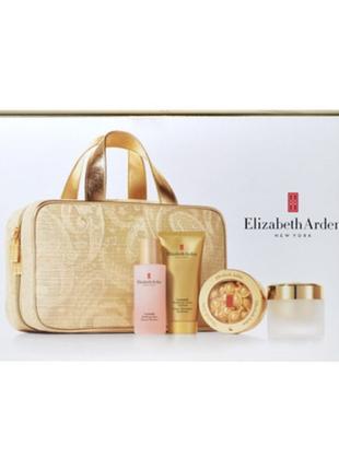 Золотая яркая косметичка, объемная, сумка для косметики, elizabeth arden