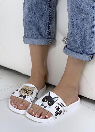 Шлепанцы с котами, шлепки пляжные kiss meow, шльопанцi коти cat