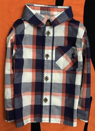 Рубашка в клетку на малыша 6-9 мес, рост 68-74, новая б/б