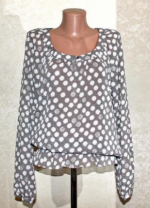 Актуальная блузка в горохи из жатого шифона бренд esprit  размер s-m-l