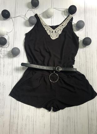 Чёрный легкий комбинезон-шорти ромпер h&m