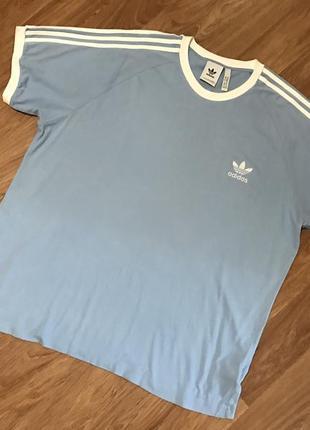Футболка на большого дядю от adidas originals 3-stripes cotton tee ash blue