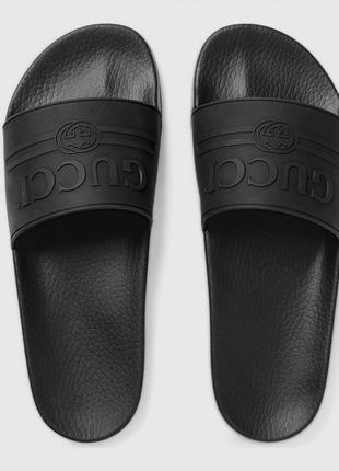 Шлепанцы gucci logo rubber black