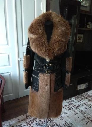 Шуба пальто бобер бобровая авторская дизайнерская в идеале 42р.