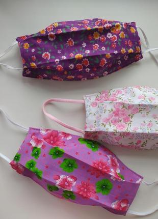 Многоразовые маски, летние расцветки