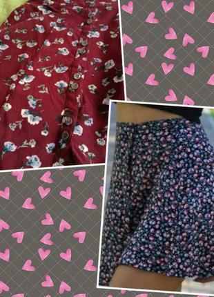 Юбка вискоза цветы летняя модная юбка на пуговицах трапеция