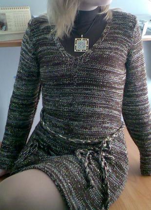 Вязаное платье с люрексом1 фото