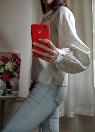 Трендовая рубашка с объемными рукавами3 фото