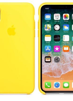 Чехол силиконовый для iphone (айфон) х xs желтый