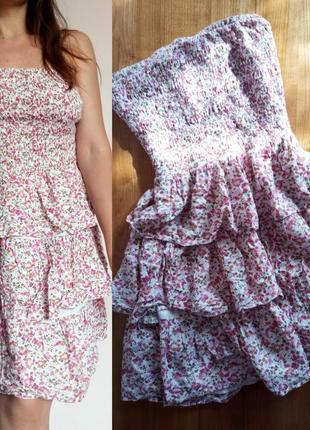 Літнє плаття pimkie/ легкое летне цветочное платье/ без бретель/ со шлярками