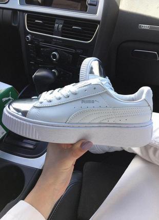 Puma suede creeper  white/chrom ✰ женские кожаные кроссовки ✰ белого цвета 😻